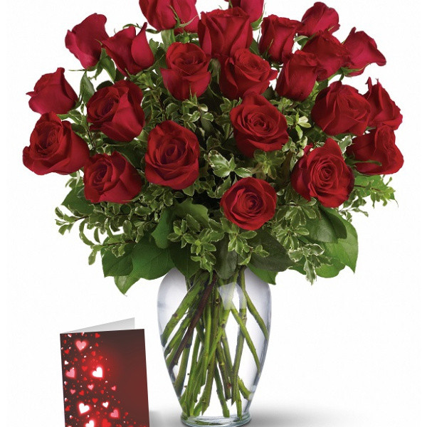 24 Red Roses & Card buy at Florist