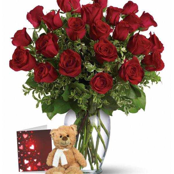 24 Red Roses & Teddy Bear Combo buy at Florist