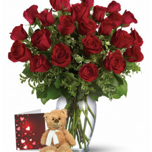 24 Red Roses & Teddy Bear Combo