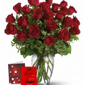 24 Red Roses & Truffles Combo buy at Florist
