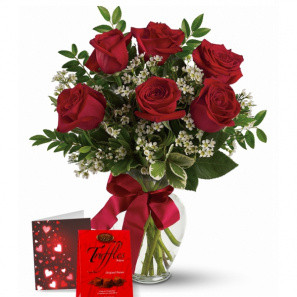 6 Red Roses & Truffles Combo buy at Florist