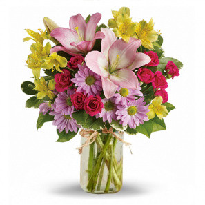Shades of Spring in Mason Jar buy at Florist