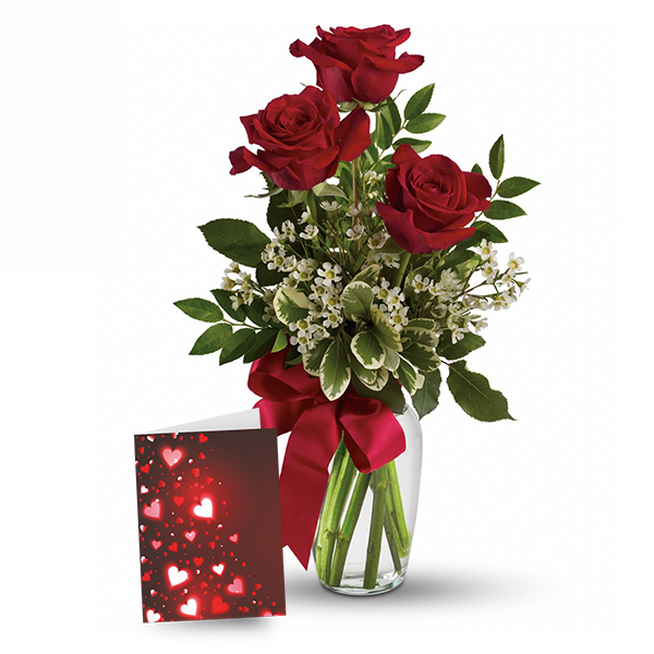3 Red Roses & Card buy at Florist