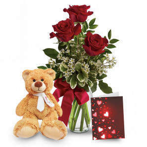 3 Roses & Teddy Bear Combo buy at Florist